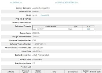 Asus Zenfone 4 Pro bluetooth certification